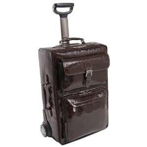 Italian Leather Wheeled Travel Bag Case Laptop Briefcase CHOCOLATE