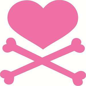 heart cross bones decal pirate rock skull girl A026
