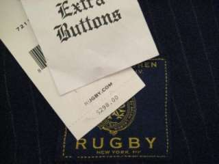 RUGBY RALPH LAUREN MEN Small $298 NWT Navy Pinstripe Jacket Blazer