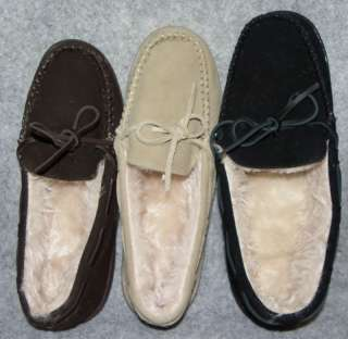 NEW Womens Brown Beige Or Black Moccasin Slippers Size 7 8 9 10 11 12
