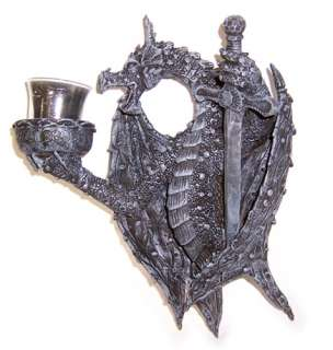 Medieval Dragon Sword Wall Hanging Candle Holder Accent