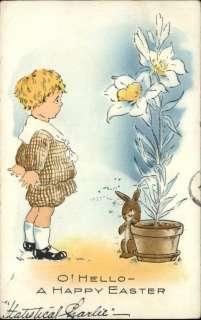 Whitney Easter Boy Rabbit Flower Pot c1910 Postcard