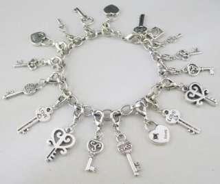 Tibetan silver lock key charm bracelet chain bracelet