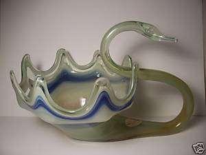 Swan Figure Bowl   Handmade Art Glass  Sunset, Spiro OK