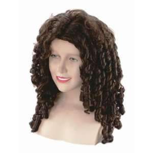 Brown Sipral Curly Fancy Dress Wig Inc FREE Wig Cap Toys