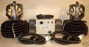 man supplied fresh air respirator breathing full mask