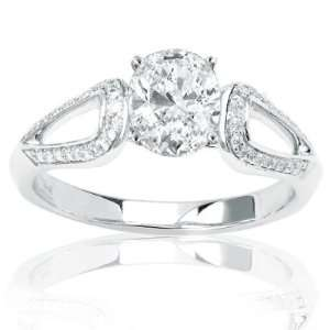 Pave Set Round Diamonds Engagement Ring with a 0.92 Carat Emerald Cut
