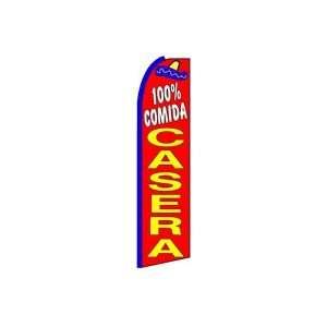 100% Comida Casera Feather Banner Flag (11.5 x 3 Feet