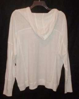 NWT $218 EILEEN FISHER LARGE Linen Jersey WHITE Easy Pullover Hoodie