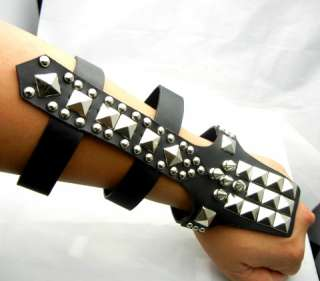 TEW500 9 Spikes Studs Leather Bracelet Wristband Biker Punk Heavy