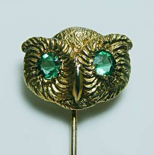 Art Nouveau Owl Green Stone Alexandrite? Stick Pin 10K Solid Gold