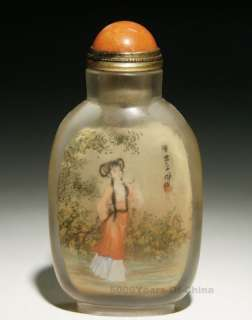 83 Great Chinese Old Handmade Ladys Inside Painted Glass Snuff Bottle