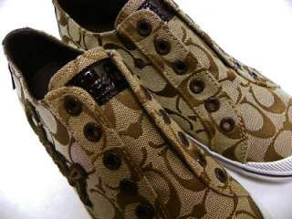 COACH KEELEY SIGNATURE KHAKI WOMENS SNEAKERS Authentic New in Box