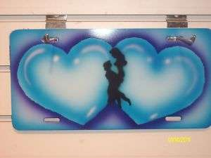 Airbrush couples heart personalized car vanity plates