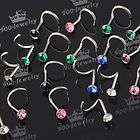 Sale Mixed Color Cz Crystal Twist Bar Nose Ring Stud Stainless Steel