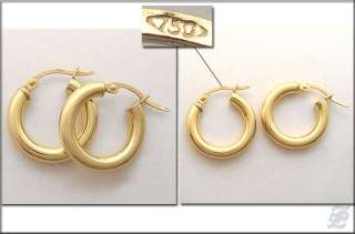 o1560   BRAND NEW 18K SOLID YELLOW GOLD HOOP EARRINGS