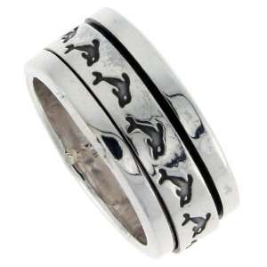 Sterling Silver 3/8 (10 mm) Dolphin Spinner Ring size 13