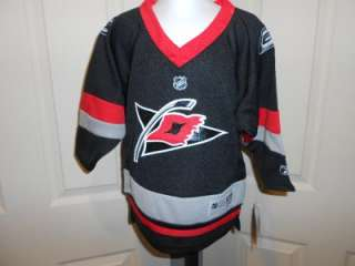 This is a Reebok Carolina Hurricanes screen printed jersey for the