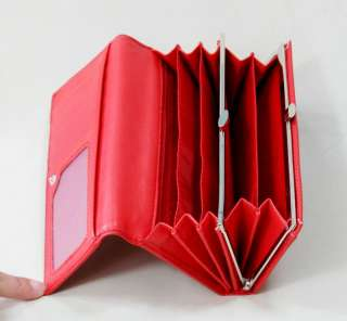 Rowling red vintage trifold Lady Large Handbag Women leather wallet