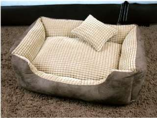 Pet Dog Cat Soft Sofa Bed kennel brown S,M+pillow