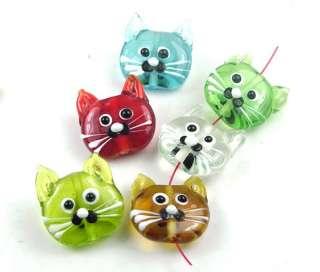 Lampwork Glass Mutil Color Cat Head Beads III 21mm (6)