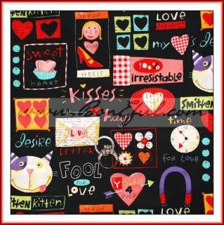 Kaufman Red Pink Heart SALE Valentine Cat LOVE *Cotton Quilt