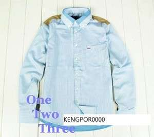 COMME Des GARCONS CDG PLAY MENS BLUE STRIPE SHIRT L