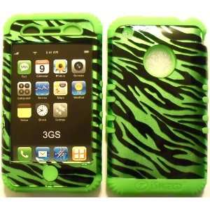 Green Zebra on Lime Silicone for Apple iPhone 3G 3GS Hybrid 2 in 1