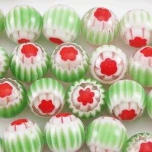 Chevron style 8mm round green white red