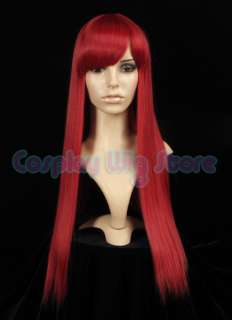 FAIRY TAIL ERZA Long Straight Dark Red Cosplay Wig