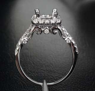New VS/H DIAMOND 14K WHITE GOLD 6.5mm ROUND CUT SEMI MOUNT HALO RING