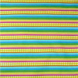 MBT Cotton Fabric Cheerful Yellow Blue Green Stripe FQs