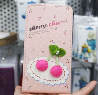 Fashionable Flip Cherry Leather PU Case Cover For Samsung Galaxy S2 II