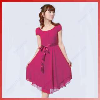 Women Chiffon Scoop Neck Tunic Short Sleeve Slim Dress
