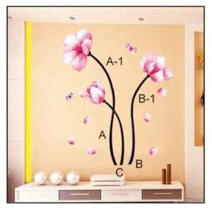Pink Flower Stem   Easy Removable Wall Decor Sticker Wall