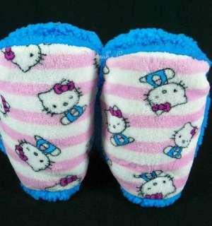 Hello Kitty Boot Slippers Women XL 10 11 White & Pink With Blue Trim