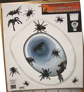 Prop~SPIDERS TOILET TOPPER~Tattoo Window Cling Decal Decoration