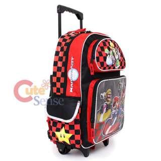 Super Mario Wii Kart Large School Roller Backpack Lunch Box Bag Set