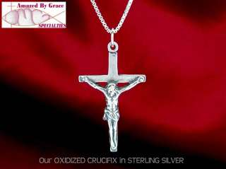 Sterling Silver Oxidized Crucifix Cross Necklace