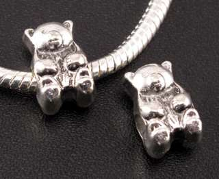 30pcs Tibetan Silver Bear Spacer Beads Fit European Charm Bracelet