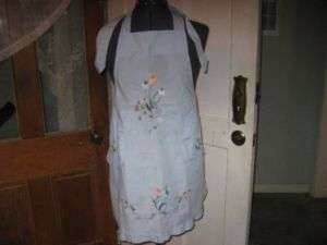 PRETTY BLUE EMBROIDERED FLOWERS DELICATE FULL APRON