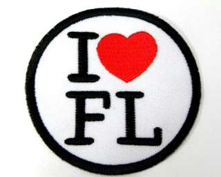 LOVE FLORIDA SIGN DOT IRON ON PATCH EMBROIDERED I182