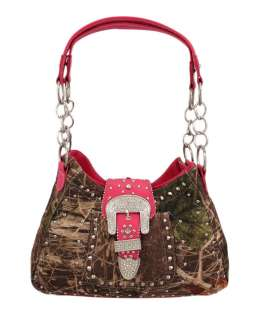 Camouflage Chrome Studded Rhinestone Buckle Purse Hot Pink Trim