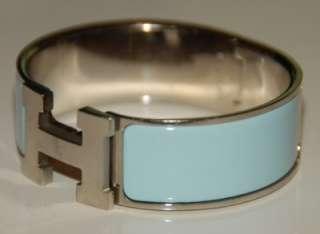 Hermes Clic H Wide Enamel Baby Blue Silver Palladium Bangle Bracelet