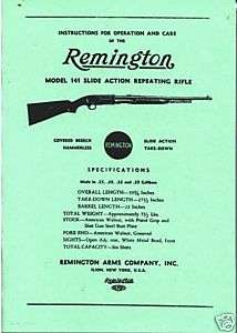 Remington Model 141 Repeating Rifle Gun Manual