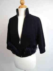 Ribbed Zip Sweater with Alpaca Fur Pockets Chic shorter cut size 40