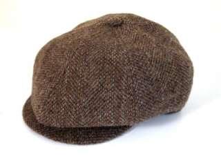 Ralph Lauren Polo Brown Tweed Wool Newsboy Driving Hat Cap S M