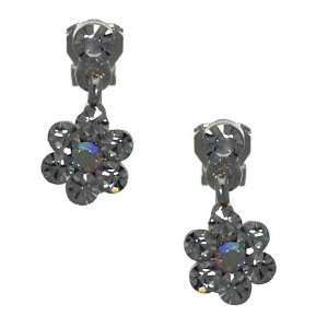 Compelling Silver Aurora Borealis Crystal Clip On Earrings