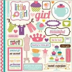 Echo Park Scrapbook LITTLE GIRL PAPER by the sheet