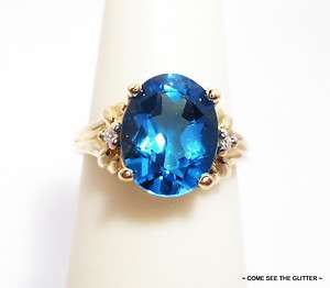 Oval Shaped London Blue Topaz w/ Diamonds 10kt Yellow Gold Estate Ring
